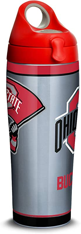 Tervis 1309971 Ohio State Buckeyes Tradition Stainless Steel Insulated Tumbler With Red With Gray Lid 24oz Water Bottle Silver