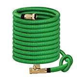 SunGreen 75ft Garden Hose, All New Expandable Water Hose with 3/4' Solid Brass Fittings, Extra Strength Fabric - Flexible Expanding Hose with Free Storage Sack