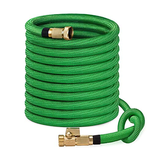 """SunGreen 100ft Garden Hose, All New 2019 Expandable Water Hose with 3/4"""" Solid Brass Fittings, Extra Strength Fabric - Flexible Expanding Hose with Free Storage Sack"""