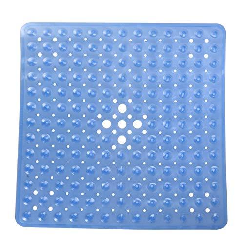 Tapis de Bain antidérapants Tapis de sécurité de Douche de Bain carrés Tapis antidérapants en PVC Anti-bactériens Anti-moisissure (Bleu)