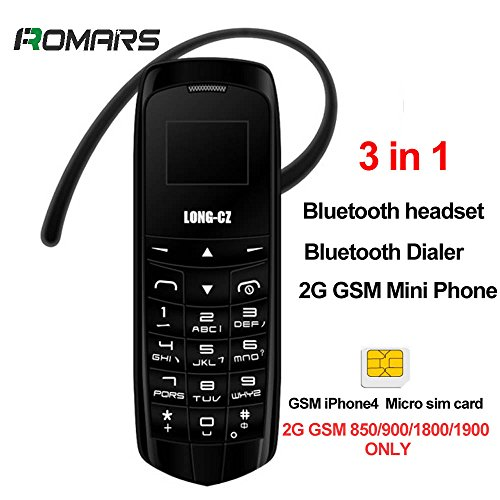LONG CZ J8 Kleinste Bluetooth Telefon 3 in 1 entsperrt Micro SIM Telefon + Bluetooth Dialer + Kopfhörer 99,9% Kunststoff Boss Telefon Unterstützung iPhone 4 Mini SIM Karte 2G GSM Netzwerk (Schwarz)