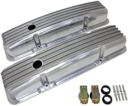 1958-86 Chevy Small Block 283-305-327-350-400 Short Polished Aluminum Valve Covers - Full Finned