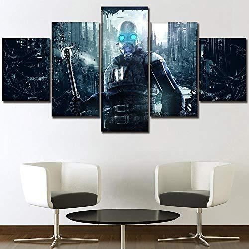 JIONGJIONG 5 Piezas De Lienzo Poster Pintura Decorativa Moderna Pared de la decoración del hogar Marco Máscaras del Juego Half-Life/150 * 80 CM