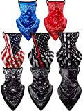 8 Pieces Face Cover Scarf Bandana Ear Loops Balaclava Unisex Cooling Neck Gaiters Scarf Shield, 8 Styles (Flowers Set)
