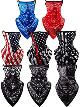 8 Pieces Face Cover Scarf Bandana Ear Loops Balaclava Unisex Cooling Neck Gaiters Scarf Shield 8 Styles  Flowers Set