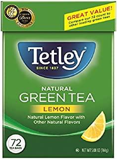Tetley Green Tea, with Lemon, 72 Tea Bags (Pack of 6)