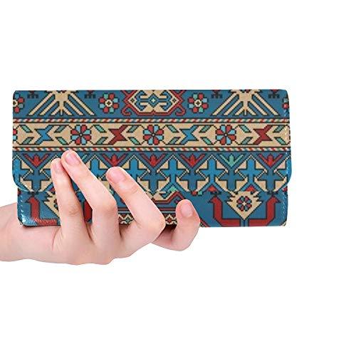 Unique Custom Coloré Oriental Mosaïque Kazak Tapis Traditionnel Femmes Trifold Portefeuille Longue Bourse Titulaire de la Carte de crédit Cas Sac À Main
