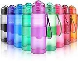 Botella de Agua Deporte 500ml/700ml/1l, sin bpa tritan plastico, Reutilizables a Prueba de Fugas Botellas Potable con Filtro para niños, Colegio, Sport, Gimnasio, Trekking, Bicicleta (Purple, 1000ml)