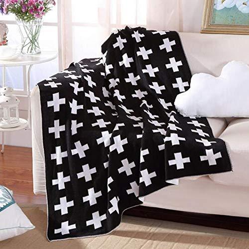 Bluestar katoen zachte baby breien deken, gepersonaliseerd patroon knuffel ontvangen Swaddle deken voor baby jongens meisjes (zwart-wit kruis)
