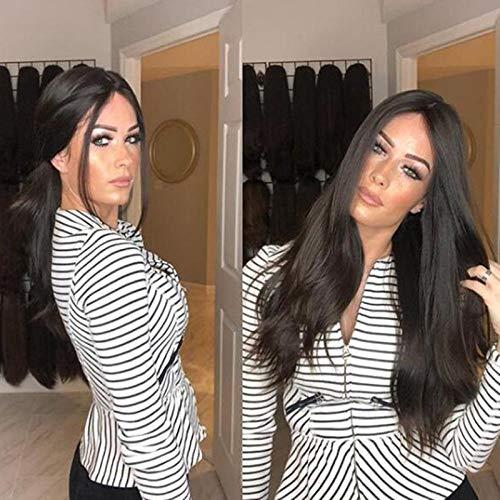 Donkerbruin lang steil haar, licht gekrulde staart, 40 cm, natuurlijke, levensechte pruik, zijde met hoge temperatuur van chemische vezels, pruik gebruikt door vrouwen voor dagelijkse aankleding en feestjes