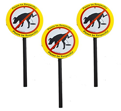 Plastic No Poop/Urinating Dog Yard Laminated Signs and Stakes  Stop Dogs from Doing Business On Your Lawn   Please Be Respectful (3 x No Peeing)