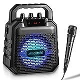 Altavoz Bluetooth Inalámbrico Portatiles con Micrófono Karaoke Soporta Puertos USB/SD/TF/Bluetooth y Aux-in,Altavoz Micrófono Sistema para Fiestas de Clubs/Bodas/Músicos Callejeros