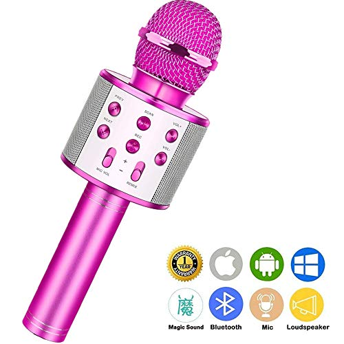 Wireless Bluetooth Karaoke Microphone,Rechargeable Kids Microphone Karaoke Machine,Professional Handheld Karaoke Mic Speaker Home KTV Kids Birthday Party - Best Gifts for Kids Adults (Purple)