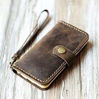 Personalized Leather iPhone XS/XS MAX/XR / 8/8 Plus / 7 Plus wallet case, iPhone 6S 6 Plus SE wallet Case - Italian distressed oiled leather (Rustic Brown)