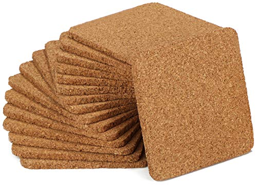 com-four® 16x Cork Coaster carré, 9 x 0,5 cm