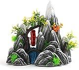 LXNQG Acuario Vista a la montaña Ornamento de piedra - Decoración del tanque de peces - Resina artificial Vista de la montaña Paisaje de la decoración de la decoración de la roca para el pecero marino