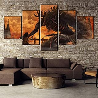 Animals Bloodborne Cleric Beast,Wall Art Home Wall Decorations for Bedroom Living Room Oil Paintings Canvas Prints-974 (Unframed,5PCS)