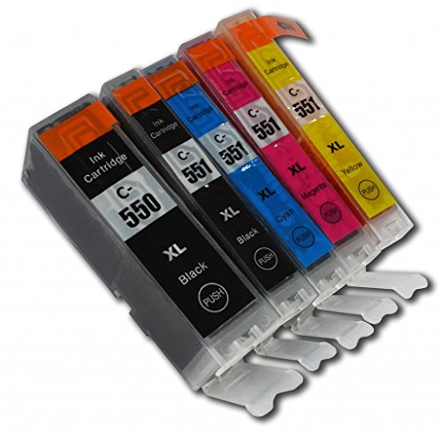 5 XL Druckerpatronen kompatibel für Canon PGI-550 XL & CLI-551 XL, Canon Pixma iP7150, iP7250, iP8750, iX6850, MG5450, MG5550, MG5650, MG6350, MG6450, MG6650, MG7150, MG7550, MX725, MX925