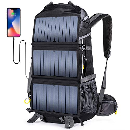 ECEEN Solar Powered Backpack with 20 Watts Solar Charger 78L Rucksack
