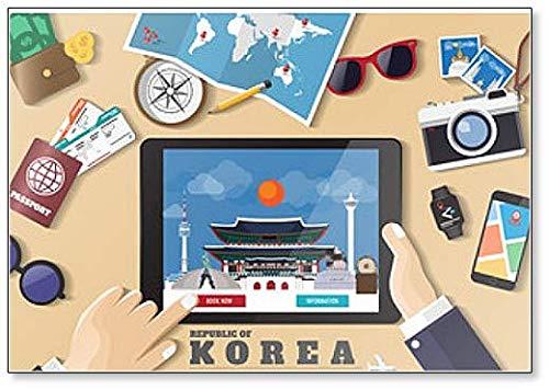Calamita da frigorifero con Smart Tablet Booking Travel Destination Korea