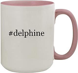 #delphine - 15oz Hashtag Colored Inner & Handle Ceramic Coffee Mug, Pink