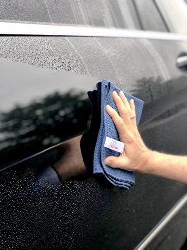 ALCLEAR Auto Microfasertuch Trockenwunder für Autopflege, Autolack, Motorrad, Küche u. Haushalt – Microfaser Geschirrtuch - weiches Trockentuch - 60x40 cm blau