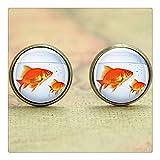多くの魚のイヤリング、金魚鉢の金魚鉢アートネイチャーアートアクアリウムプリントガラスピアスイヤリング