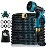 50 FT Expandable Garden Hose,Upgraded Leakproof Flexible Water Hose with 9 Function High-Pressure Spray Nozzle and 4-Layers Flex Strong Latex, with 3/4' Hose Splitter for Watering and Washing