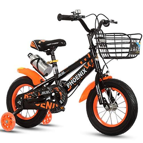 Longteng Las Bicicletas De 16 Pulgadas Ciclo Al Aire Libre De Bicicletas Antideslizante Ruedas con Auxiliar Intermitente Ruedas For Niños con Las Cestas For Niños Y Niñas (Color : Naranja, Size : B)