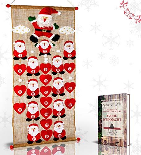 Caridano® Weihnachtskalender - Adventskalender zum Befüllen nachhaltig inkl. Weihnachtsgedichte - Filz Adventskalender mit 24 Herzen - Kinder Adventskalender 2020 - Christmas Advent Calendar