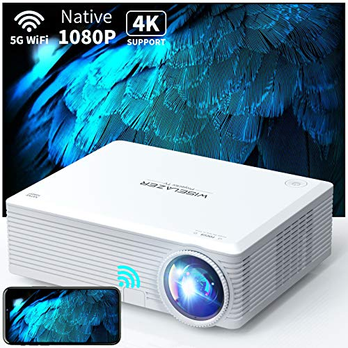 WISELAZER Native 1080P WiFi Beamer, Full HD Heimkino Tragbarer 4k Beamer, Max 300'' Großer Bildschirm, Movie Projektor Kompatibel mit HDMI / USB / TV-Box / Telefon / PC / Laptop( Including Handtasche)