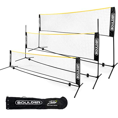 Boulder Portable Badminton Net Set - for Tennis, Soccer Tennis, Pickleball, Kids Volleyball - Easy Setup Nylon Sports Net with Poles (Black/Yellow, 17 FT)