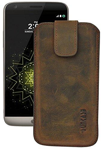 Suncase ECHT Ledertasche Leder Etui für LG G5 | LG G5 SE (mit Rückzugsfunktion & Verschluss) antik-coffee