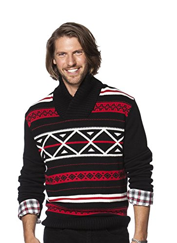 Chaps Men's Classic Fit Nordic-Inspired Shawl-Collar Sweater, American Black (Large)