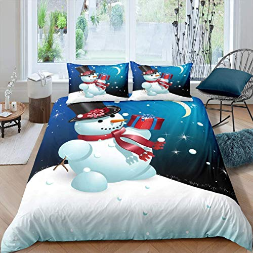 Christmas Theme Comforter Cover Set,Cartoon Snowman Bedding Set,Nursery Gift Duvet Cover Set for Boys Kids Child Winter Festival Celebration Fat Cute Lovely,Decor 3 Pcs Double Zipper Ties