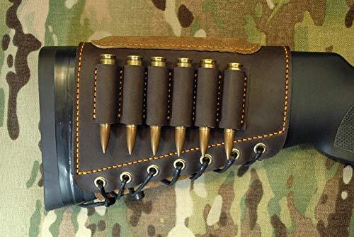 Leather Cartridge Buttstock Shotgun Shell Holder, Hunting Buttstock Ammo Holder Pouch Bag for Rifles, Shotgun Shell Pouch Shell Holder Stock (Dark Brown.45-70)