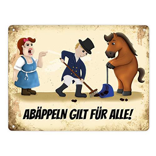 trendaffe - Metallschild XL mit Reiter und Pferde Motiv und Spruch: Abäppeln Gilt für alle