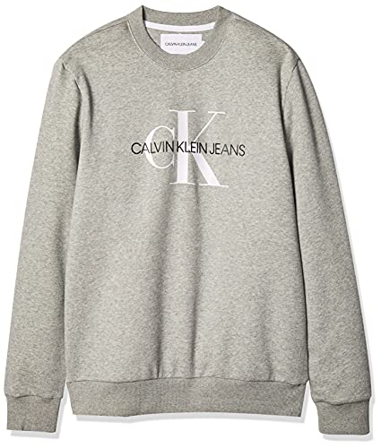 Calvin Klein Herren Monogram Logo Crew Neck Sweatshirt Hemd, Hellgrau meliert Ck, Large