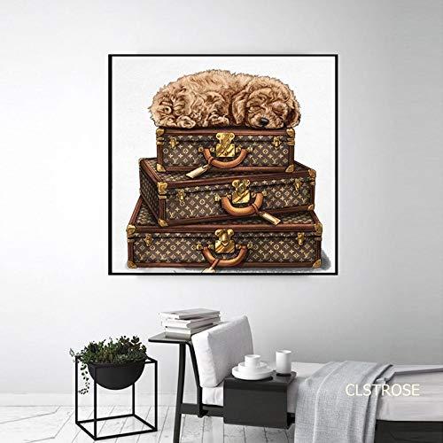N\A Pintura al óleo sobre Lienzo Maleta de Cuero Noble de Lujo Retro En Lienzo Imagen Impresiones de Pared Carteles de Arte Moderno-Sin marco60x60cm
