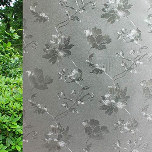 KUNHAN raamfolie raamsticker 45X200Cm luxe pioenroos design raamfolie statische ondoorzichtige privacybescherming decoratief glas film raamsticker