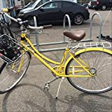Crazy Lady on a Bright Yellow Bike