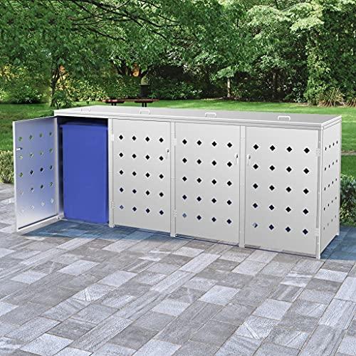 vidaXL Mülltonnenbox für 4 Tonnen Müllbox Mülltonnenverkleidung Mülltonne Mülltonnenbox Müllcontainer Gerätebox 240L Edelstahl Silbern