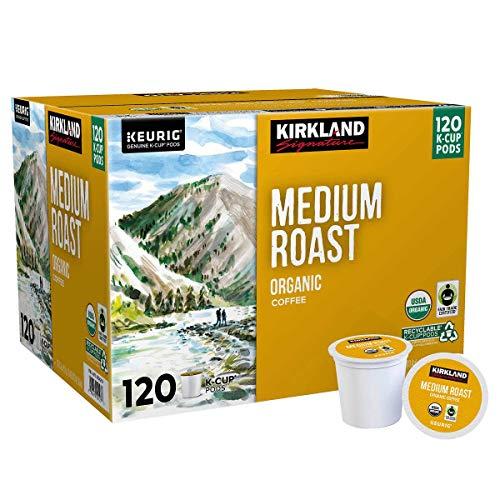 Kirkland Signature Medium Blend, Organic Medium Roast, Recyclable K Cup Pods, 120Count Net Wt 3lb,, 3 Lb ()