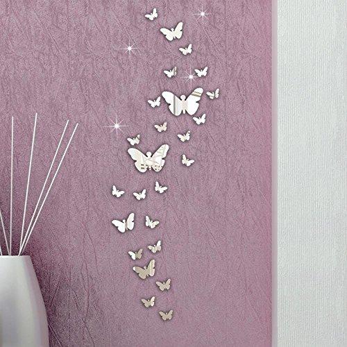 Gearmax® 3D Schmetterling Wandtattoos Spiegel Style abnehmbar Aufkleber Art Wandbild Wand Aufkleber Haus Dekor