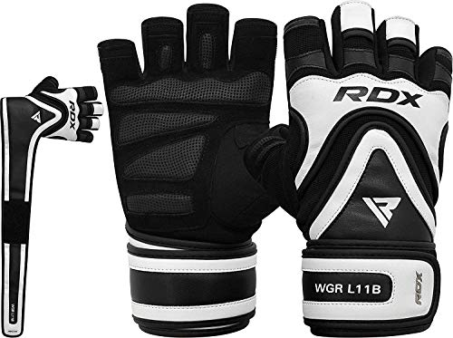 RDX Weight Lifting Gloves for Gym Workout, Long Wrist Support Strap with Anti Slip Palm Protection, Great Grip for Fitness, Bodybuilding, Powerlifting, Strength Training, Weightlifting, Exercise
