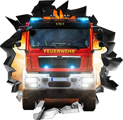 Wandtattoo Aufkleber WallArtML214 Wandbild Feuerwehr Auto Fire Mauerloch 3D Effekt verschiedene Größen Deko Wohnung Wohnzimmer Schlafzimmer Bad Kinderzimmer (71 x 70 cm)