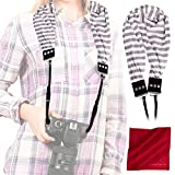 Capturing Couture Scarf Camera Strap with Hidden Pocket (Stripe Gray)...
