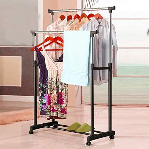 Schwerlast Metall verstellbare Kleiderständer Wäscheständer Kleiderstange Rollgarderobe Garderobenständer Max. 25KG, Garderobe auf Rollen (2x Stange)