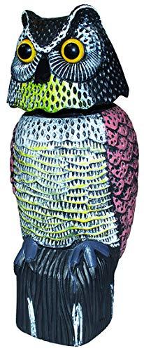 Vogelschreck Vogelscheuche Eule sitzend mit Wackelkopf & Reflektoraugen, 40 cm