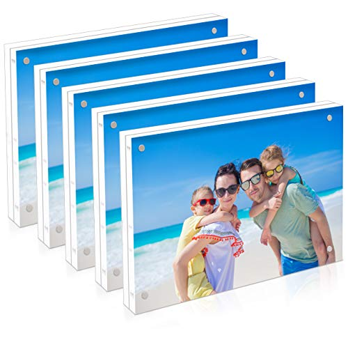 5 Count 5 x 7 Acrylic Picture Frame 5x7 Clear Magnetic Photo Frames Desktop Frameless Double Sided Lucite Block Transparent Landscape Desk Table Display 10 + 10MM Thickness